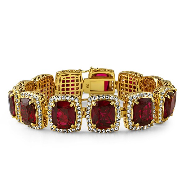 Rick ross style gold lab ruby bracelet bling cyber week for Bling jewelry coupon code