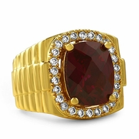Rick Ross Style Lab Ruby Boss Gold Ring