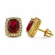 Rick Ross Style Lab Ruby Halo Gold Earrings