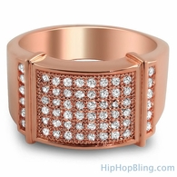 Rose Gold CZ Micro Pave Mens Bling Bling Ring