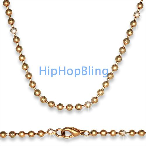 Rose Gold Plated Dog Tag Ball Chain 30 Inch 4mm wide
