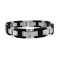 Rubber and Steel Machine Link Bracelet