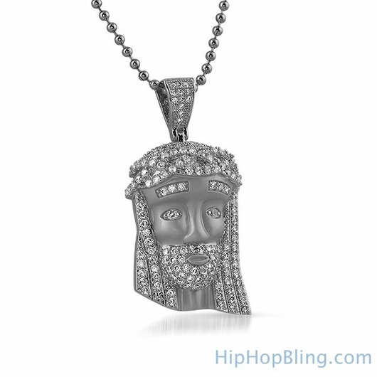 Satin Finish Rhodium Mini Jesus Face Pendant