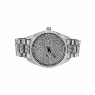 Silver Bling Bling Dress Watch Bracelet Set
