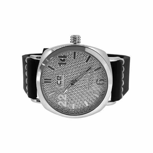Silver Clean Style Watch with Thick Leather Band