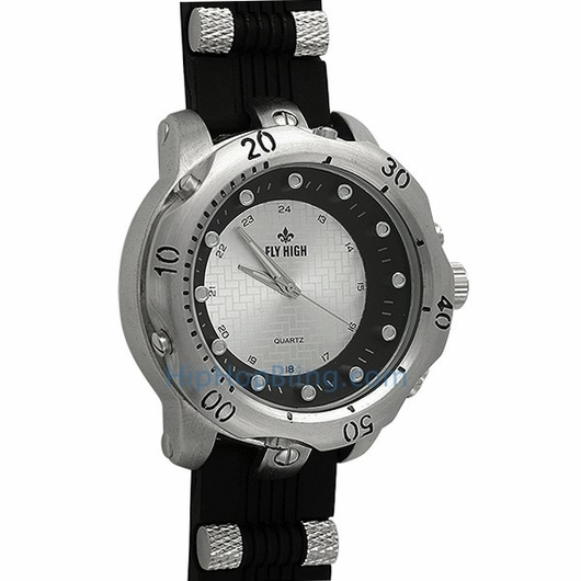 Silver Fashion Rubber Mens Watch Black Band