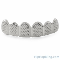 Silver Grillz Textured Custom Teeth