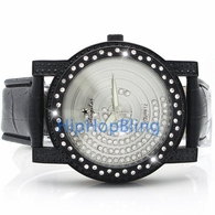 Silver Iced Out Floating Face Black Leather Gunmetal Watch