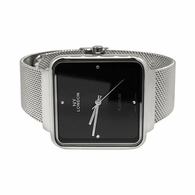 Silver with Black Dial Square Mesh Band Watch