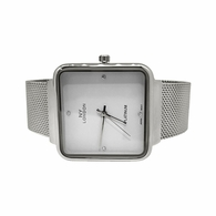 Silver with White Dial Square Mesh Band Watch