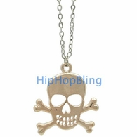 Skull and Crossbones Rose Gold Color Ladies Charm and Chain