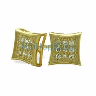 SM Kite Gold Vermeil CZ Micro Pave Earrings .925 Silver