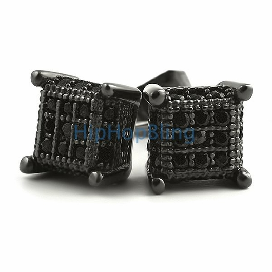 Small 3D Cube Black Micro Pave Iced Out Earrings