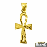 Small Ankh Cross Pendant Diamond Cut 10K Yellow Gold