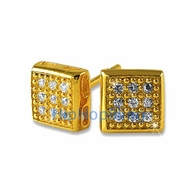 Small Box CZ Vermeil Bling Bling Earrings .925 Silver