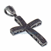 Small CZ Black Baller CZ Micro Pave Bling Bling Cross