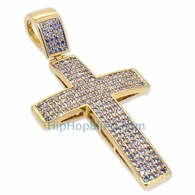 Small Gold 4 Row Bling Bling Cross CZ Micro Pave