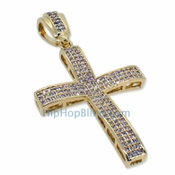 Small Gold Baller CZ Micro Pave Bling Bling Cross