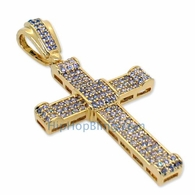 Small Gold CZ Micro Pave Curl Cross Bling Pendant
