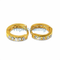 Small Huggie Gold Bling Bling Earrings