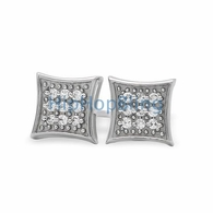 Small Kite CZ Micro Pave Iced Out Earrings .925 Silver