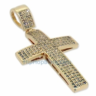 Small Lemonade 4 Row Bling Bling Cross CZ Micro Pave