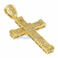 Small Lemonade CZ Micro Pave Curl Bling Bling Cross
