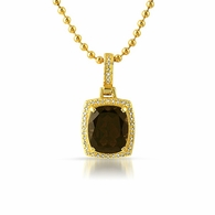 Smokey Quartz Diamond Pendant Gold .925 Silver
