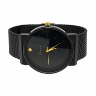 Smooth Round All Black Mesh Band Watch