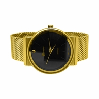 Smooth Round Gold Black Dial Mesh Band Watch