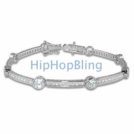 Solitaire Long Link SIGNITY CZ .925 Silver Ladies Tennis Bracelet