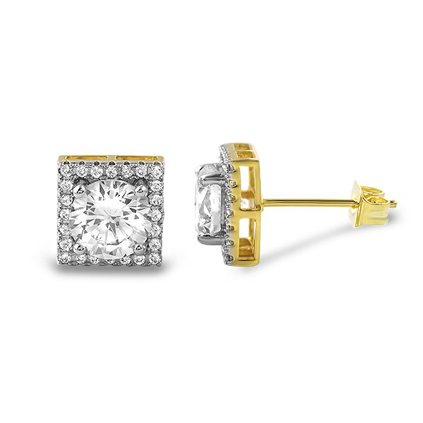 icedout earrings square halo gold iced out cz earrings custom gold micro 6569