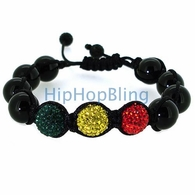 Stop Light Red Yellow Green Disco Beaded Bling Bling Bracelet