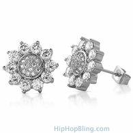 Sun Shine Rhodium CZ Bling Bling Earrings
