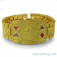 Texas Hold Em Poker Fan Lemonade Iced Out Bracelet