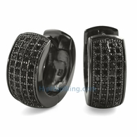 Thick 4 Row Hoops Black CZ Huggie Earrings