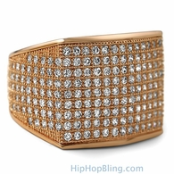 Thick Block Rose Gold CZ Bling Bling Ring