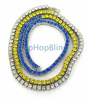 Tri Color Blue Canary White 1 Row Iced Out Chain