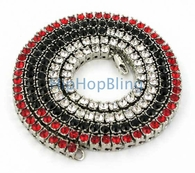 Tri Color Red Black & White 1 Row Bling Bling Chain