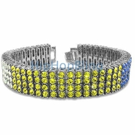 Tri Color White Canary & Blue 4 Row Bling Bling Bracelet