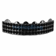 Triple Bling Bling Black Grillz Top