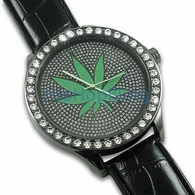 Weed Leaf Black Case Leather Iced Out Watch