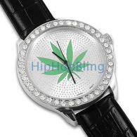 Weed Leaf Silver Black Leather Bling Bling Watch