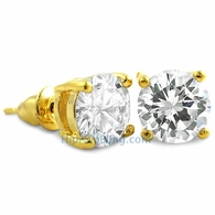 White CZ Diamond Round Stud Earrings Gold