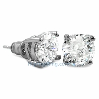 White CZ Diamond Round Stud Earrings Rhodium