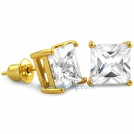 White CZ Diamond Square Stud Earrings Gold