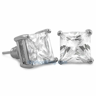 White CZ Diamond Square Stud Earrings Rhodium