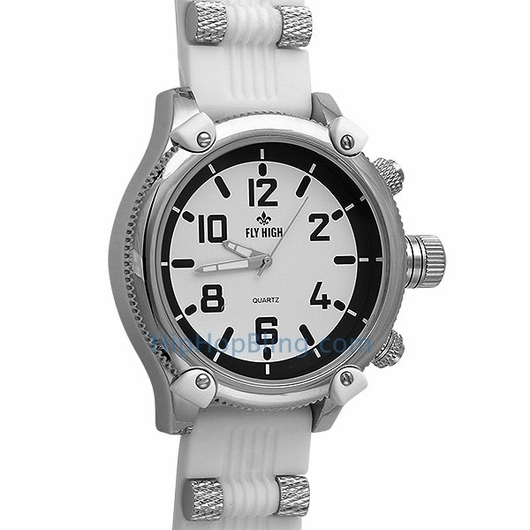 White Rubber Mens Bars Watch