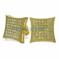 XL Kite Gold Vermeil CZ Micro Pave Earrings .925 Silver
