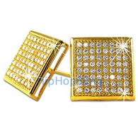 XXL Box Gold Vermeil CZ Micro Pave Bling Earrings .925 Silver